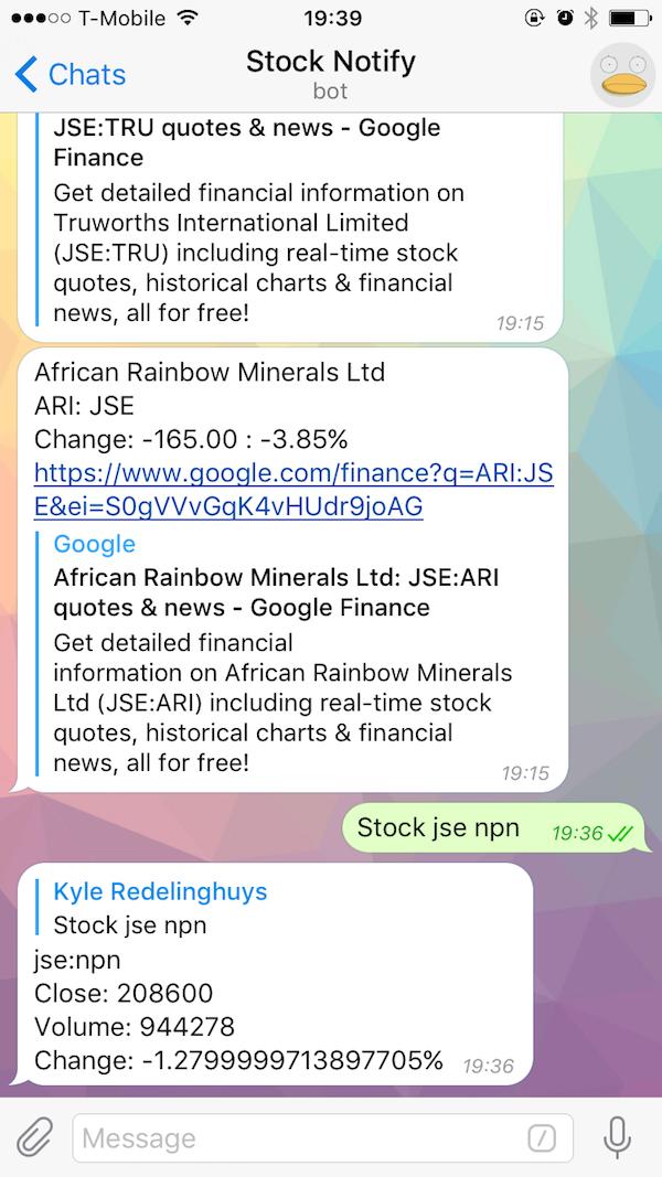 Bot stock example